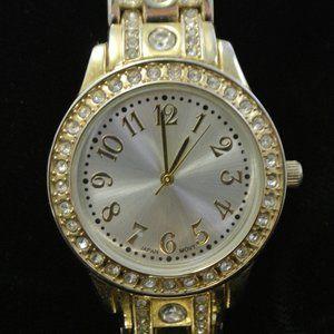 Ladies Gold Tone Rhinestone Watch